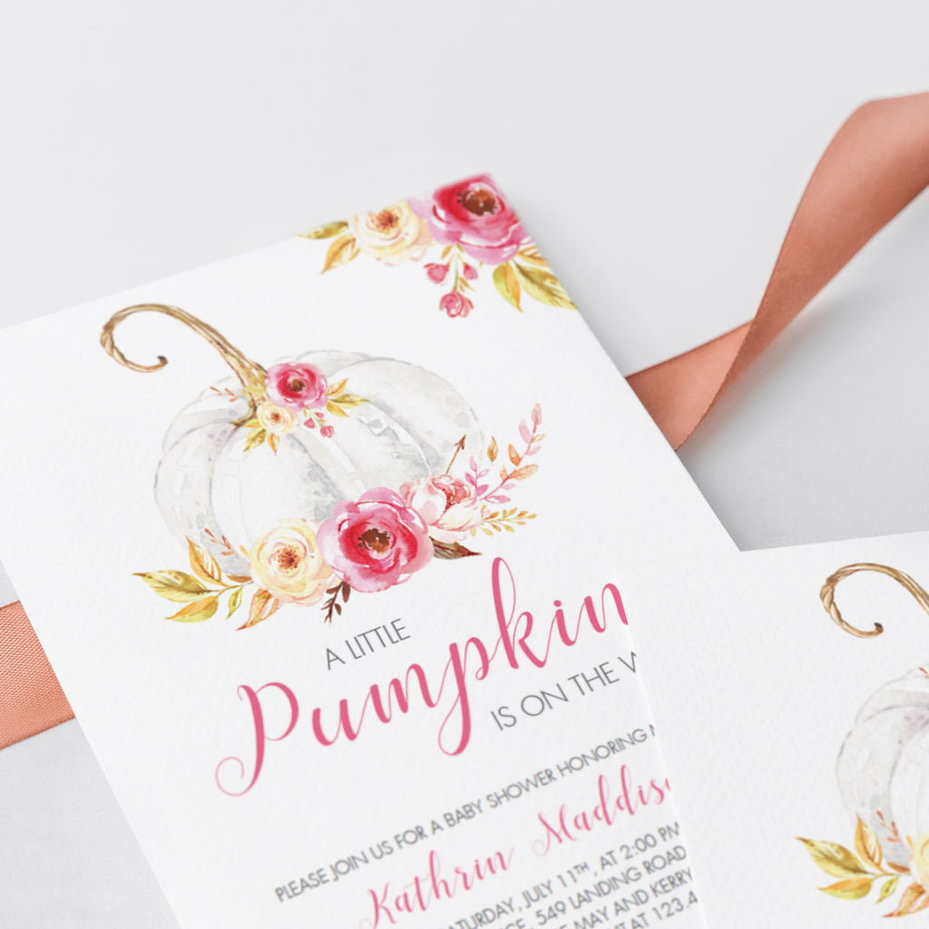 Watercolor pumpkin baby shower invitations by LittleSizzle
