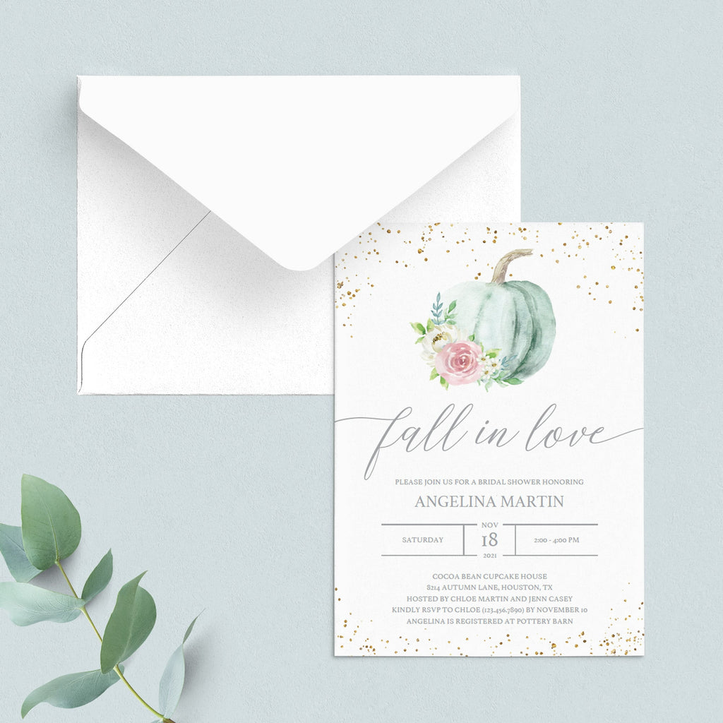 Fall in love invitation for bridal party with watercolor pumpkin by LittleSizzle