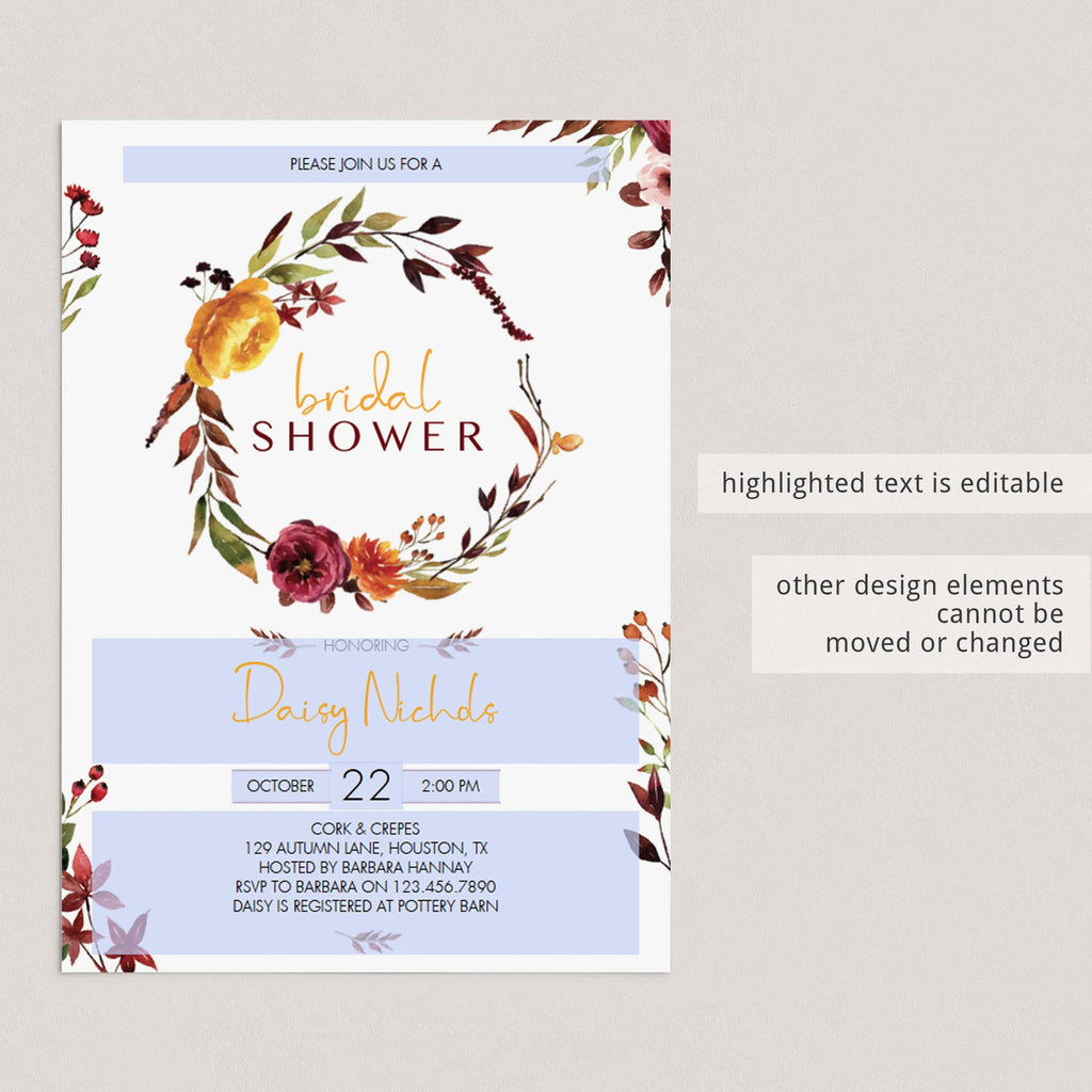 DIY fall bridal shower party invitations by LittleSizzle