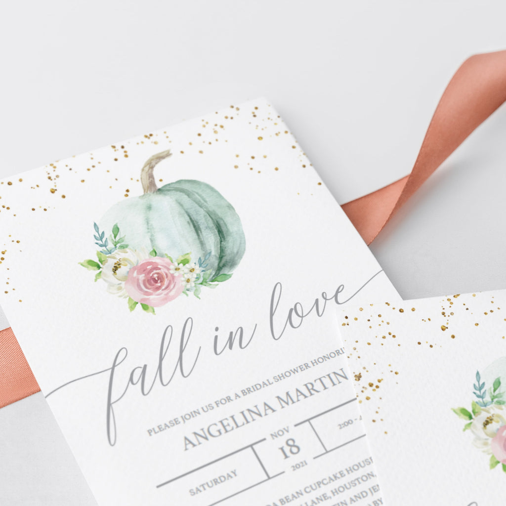 Watercolor pumpkin bridal shower invite template by LittleSizzle