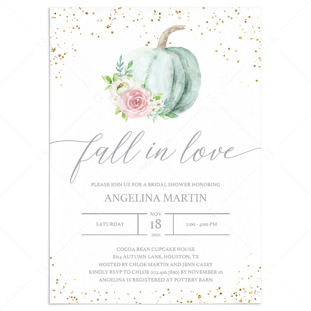 Fall in love bridal shower invitation by LittleSizzle