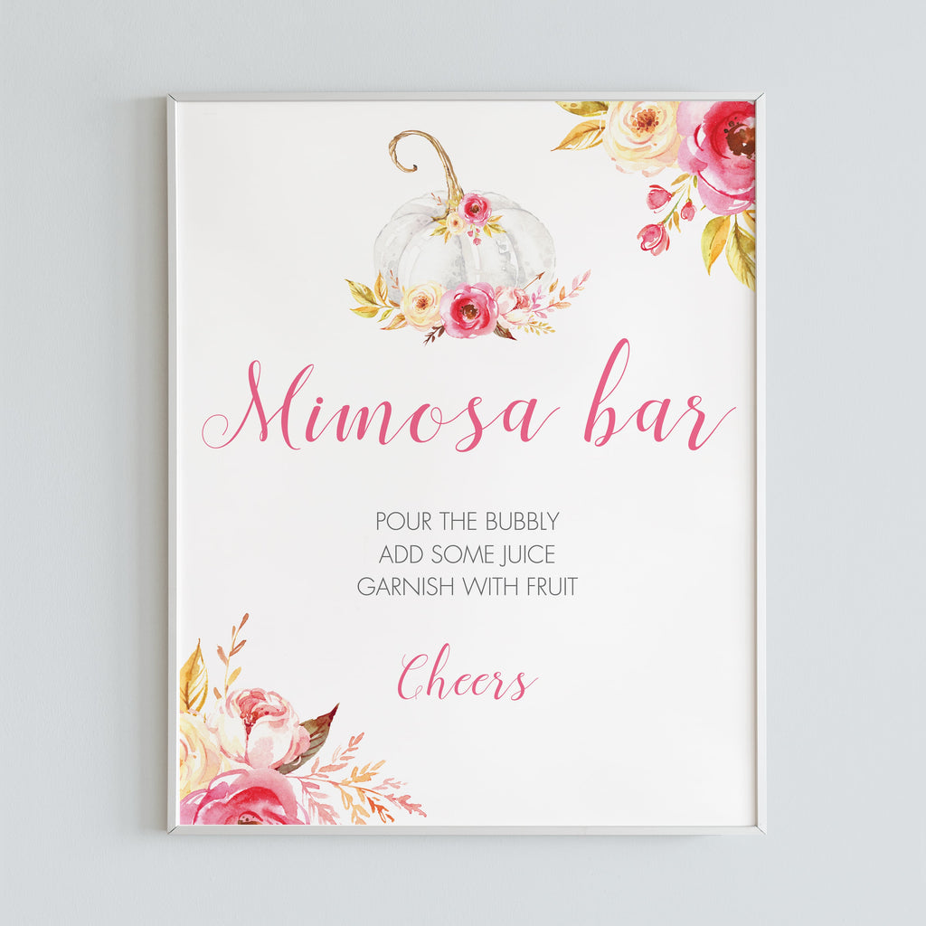Mimosa bar sign watercolor pumpkin printable by LittleSizzle