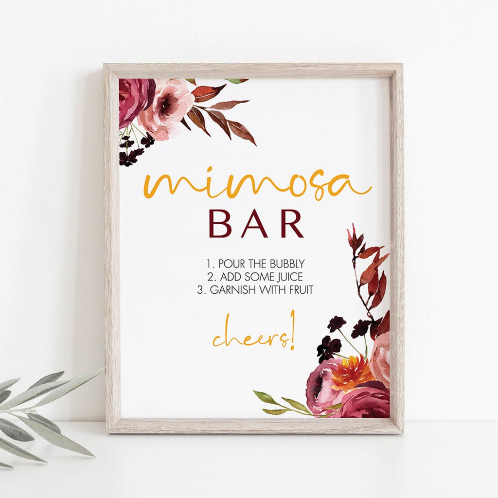 Boho floral mimosa bar table sign instant download by LittleSizzle