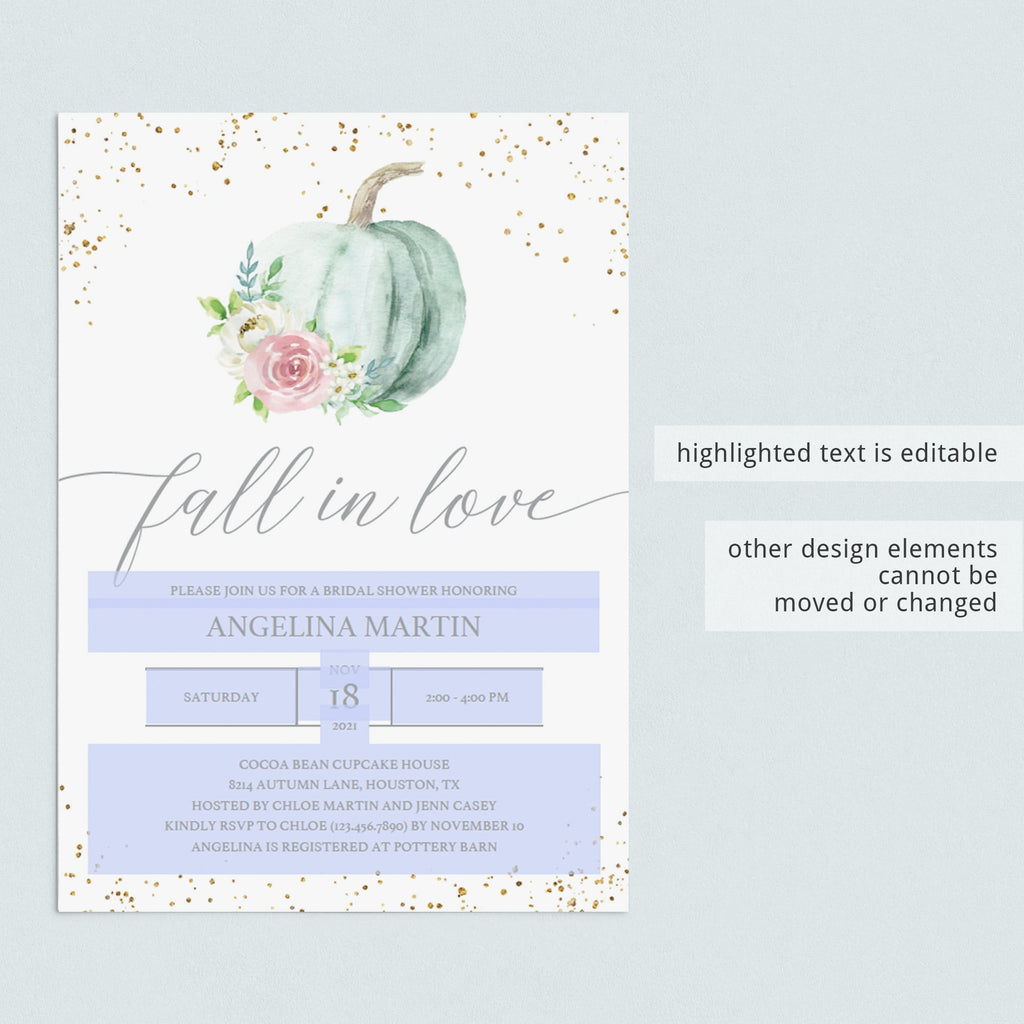 DIY fall bridal shower invitation template PDF by LittleSizzle