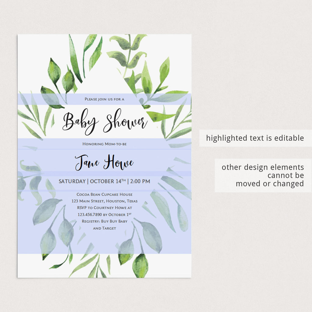 Classic Baby Shower Invitation with Green Frame