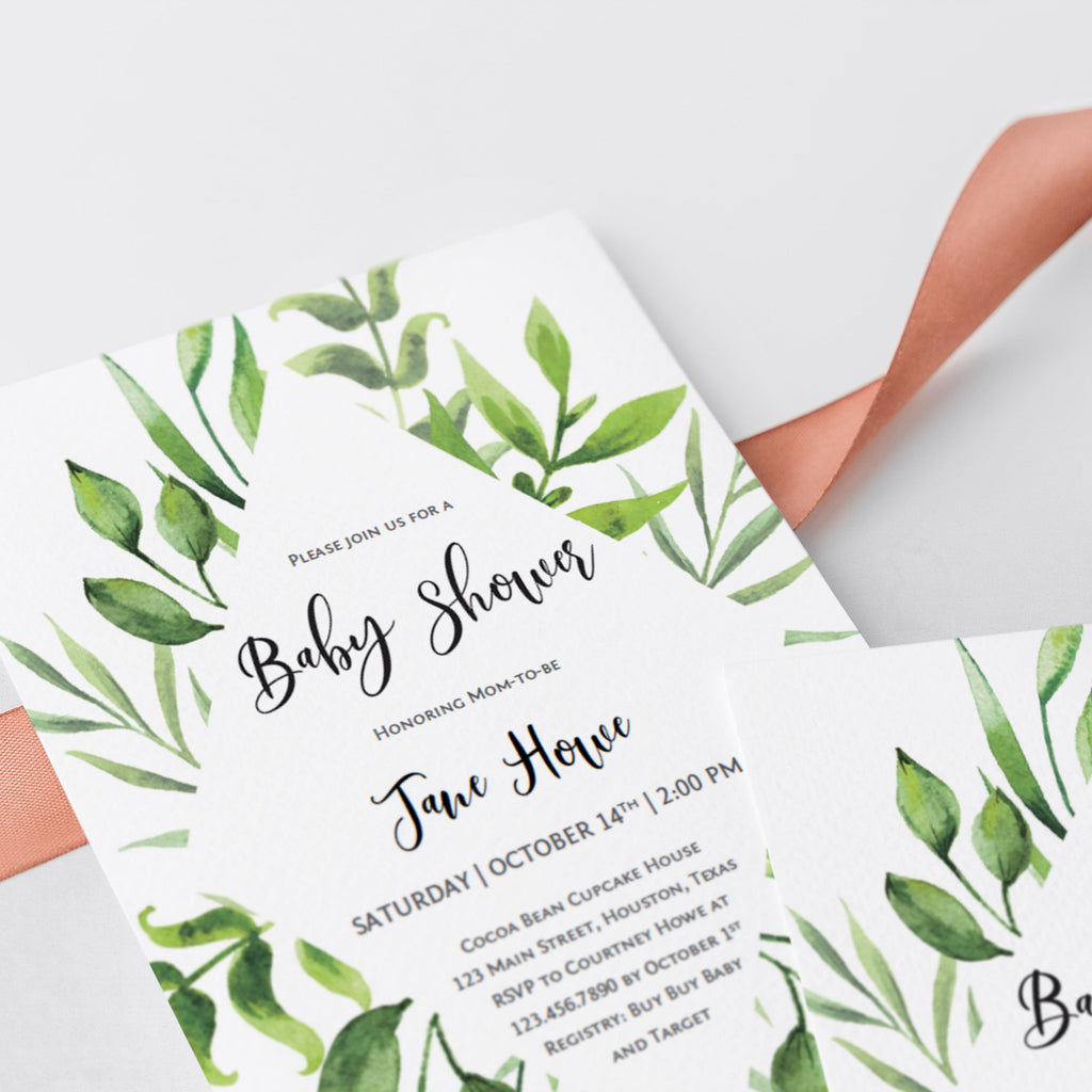 Watercolor leaves baby shower invite PDF template download by LittleSizzle