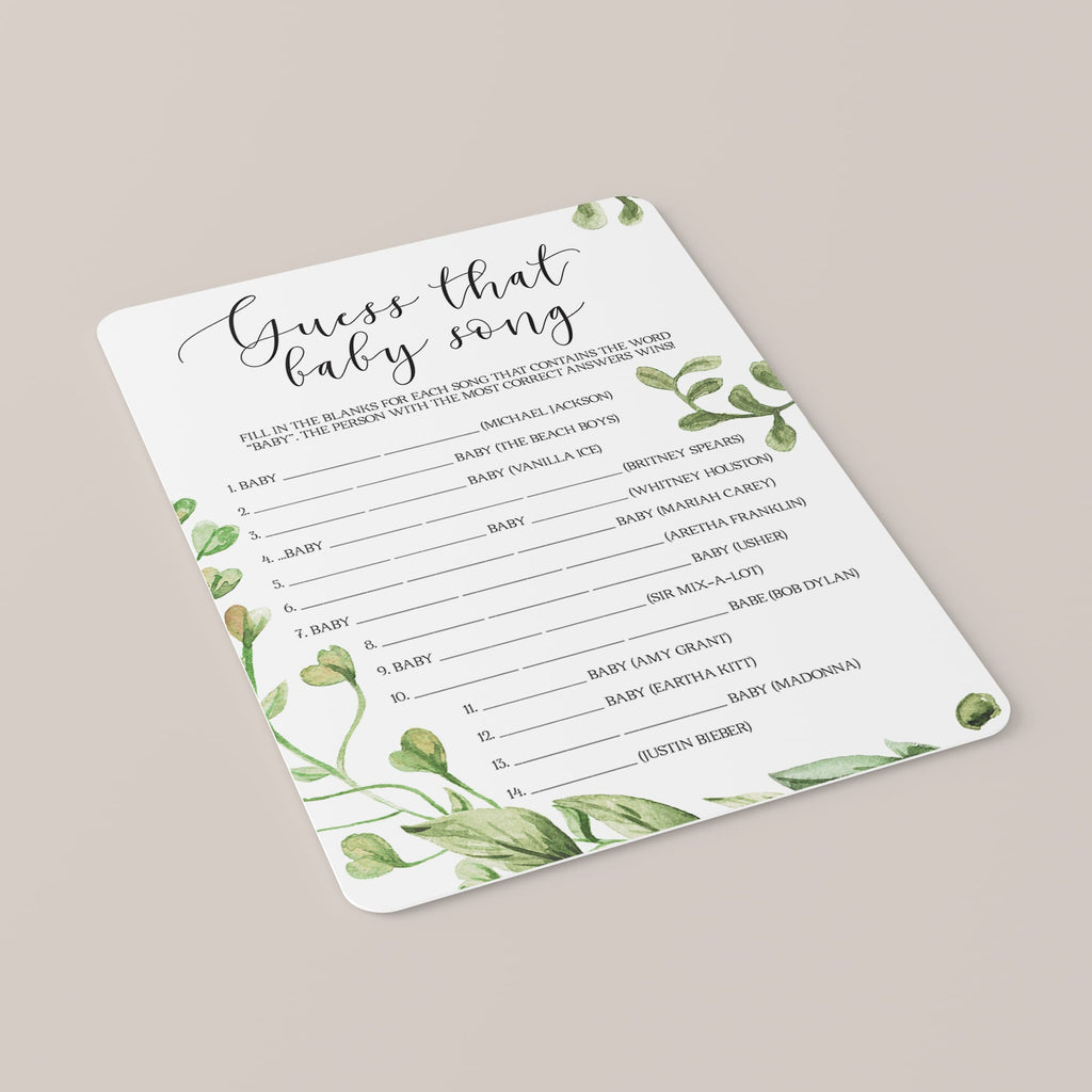 Guess That Song Baby Shower Game with Green Leaves Printable
