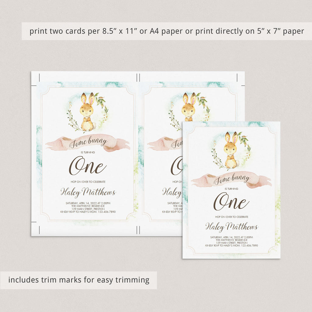 Bunny is turning one birthday invite editable template by LittleSizzle