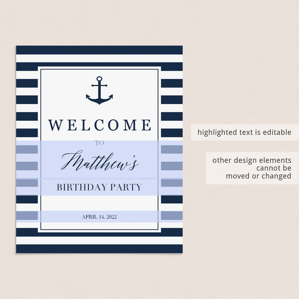 Welcome board birthday party nautical theme by LittleSizzle