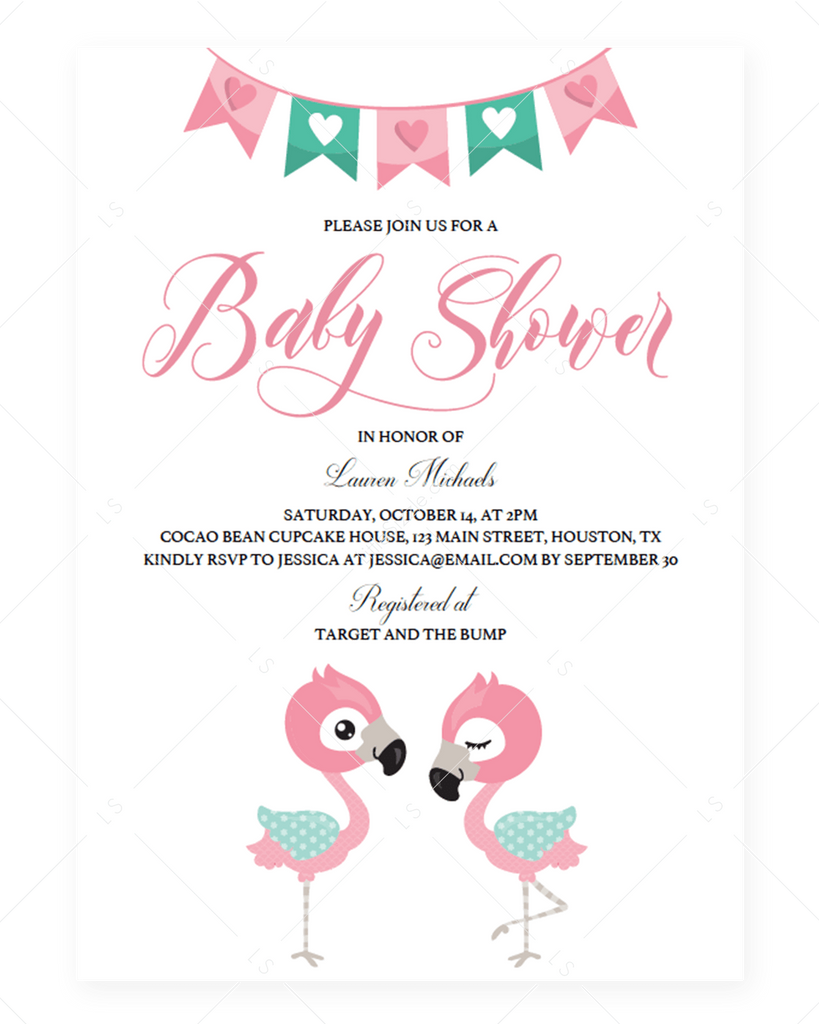 Pink Flamingo Baby Shower Invitation PDF by LittleSizzle