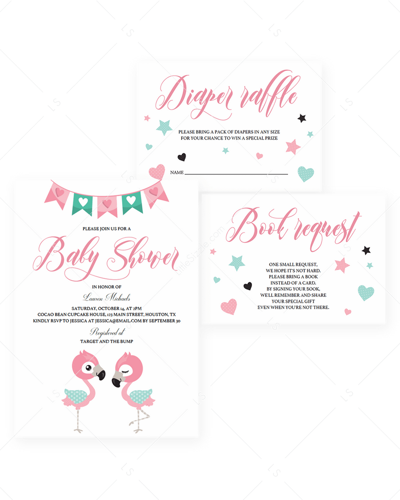 Pink Baby Shower Invitation Set Download by LittleSizzle