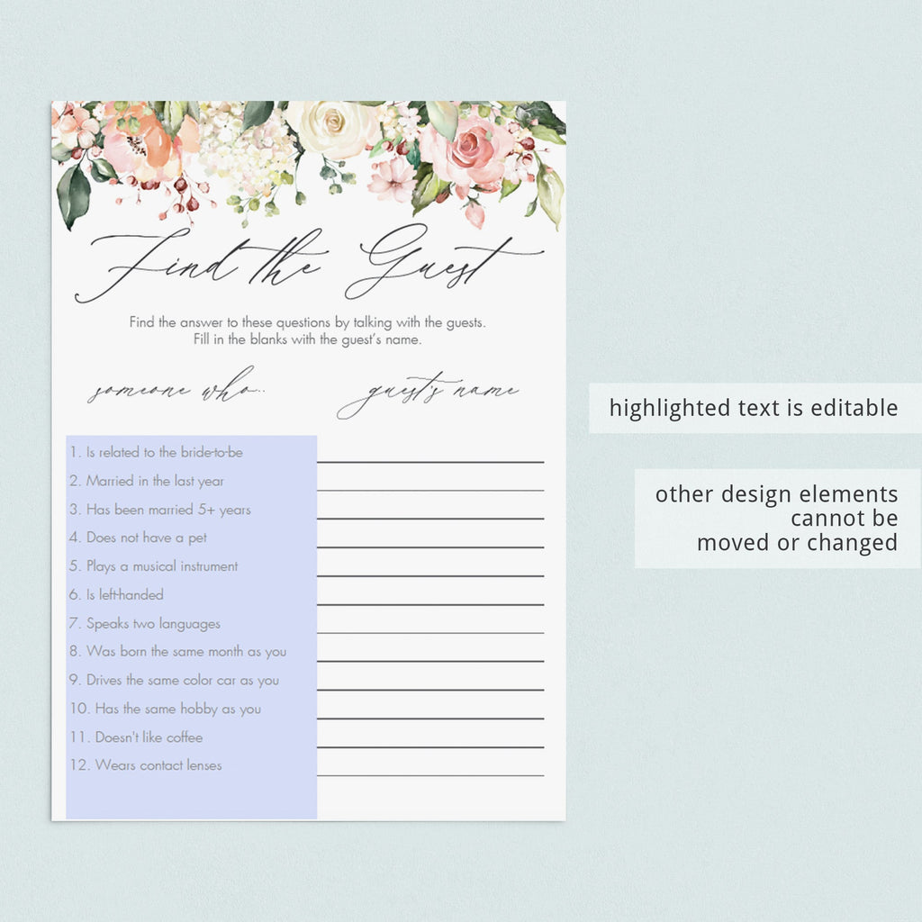 find the guest bridal shower game printables