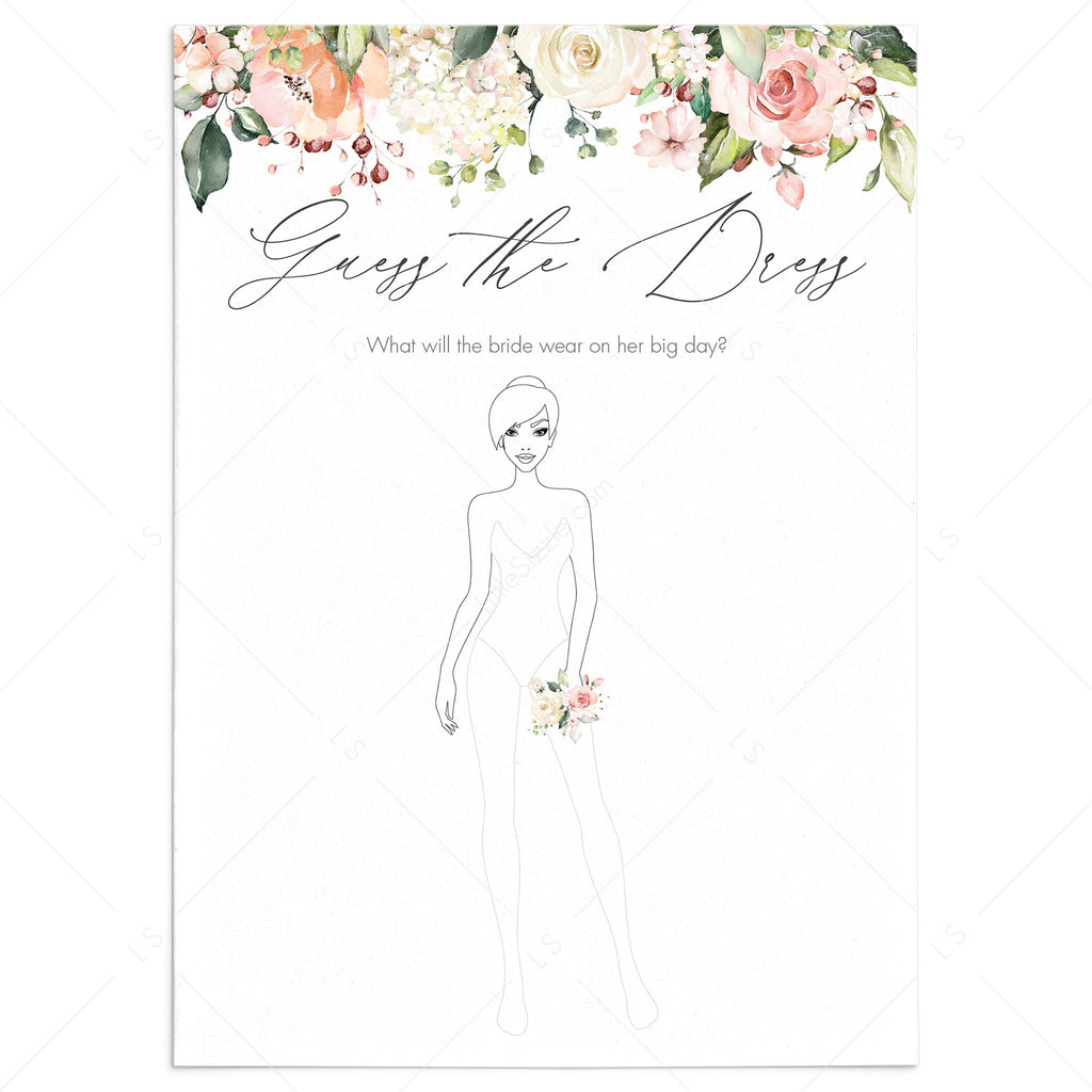 Chic Bridal Shower Guess The Dress Game Printable Instant Download Littlesizzle