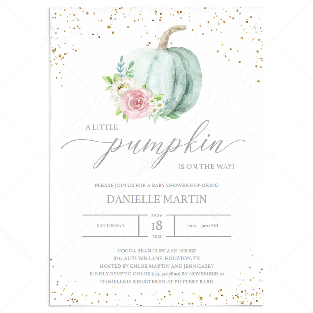 Floral pumpkin baby shower invitation gender neutral by LittleSizzle