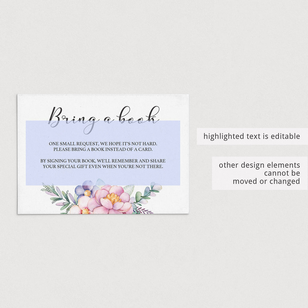 Floral themed baby shower bring a book instead of a card template by LittleSizzle