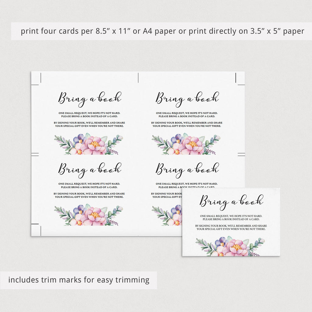 Editable bring a book card template for baby shower by LittleSizzle