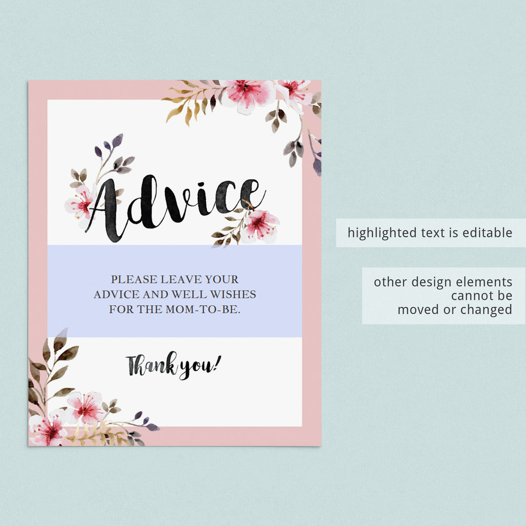 Floral watercolor baby advice sign printable decor by LittleSizzle