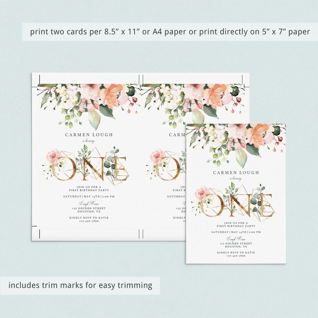 Blush floral digital first birthday evite template by LittleSizzle