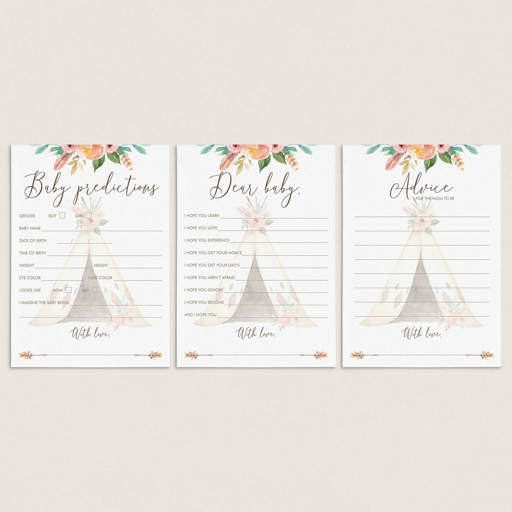 Teepee Baby Shower Games and Keepsakes Bundle by LittleSizzle