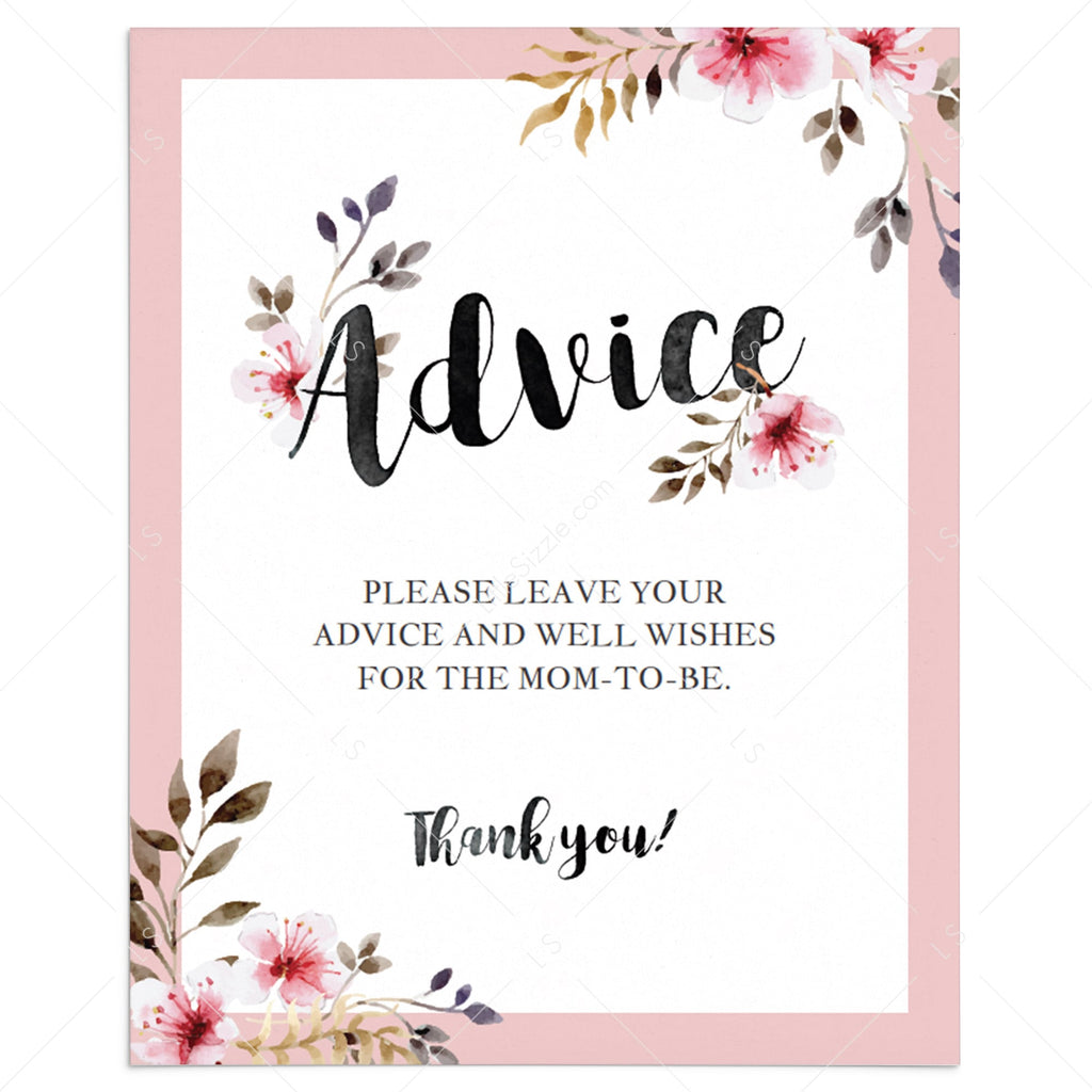 Floral watercolor baby shower advice sign template by LittleSizzle