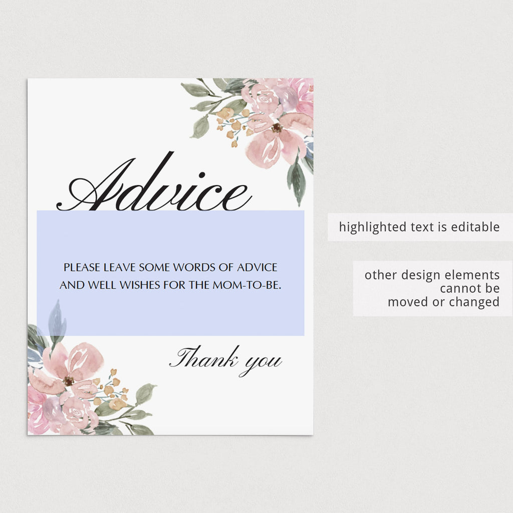 Floral watercolor advice for mommy sign printable by LittleSizzle
