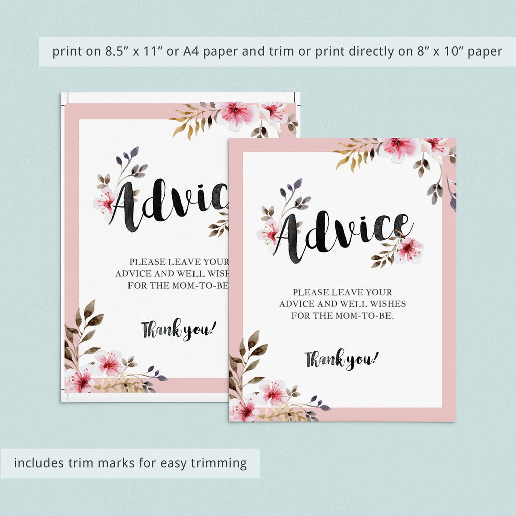 Watercolor Floral Baby Shower Advice Sign Template