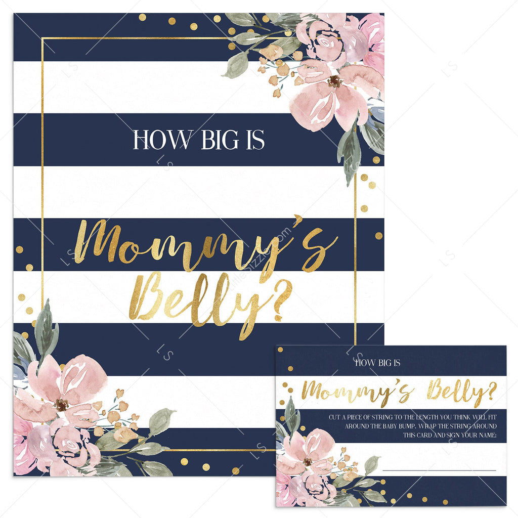 Gold floral and stripes baby shower game how big is mommys belly by LittleSizzle