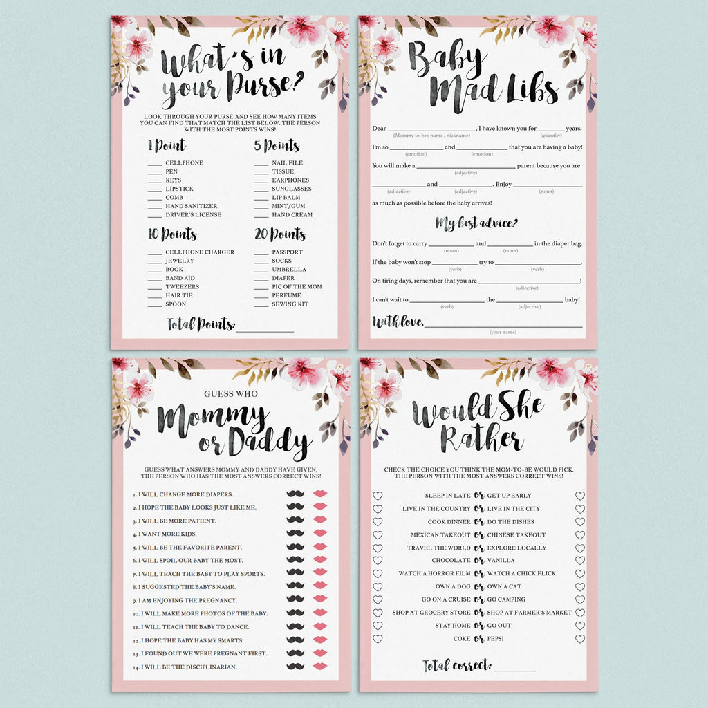 Florals baby shower games printable package by LittleSizzle