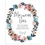 Floral wreath baby shower bubbly bar sign printable by LittleSizzle