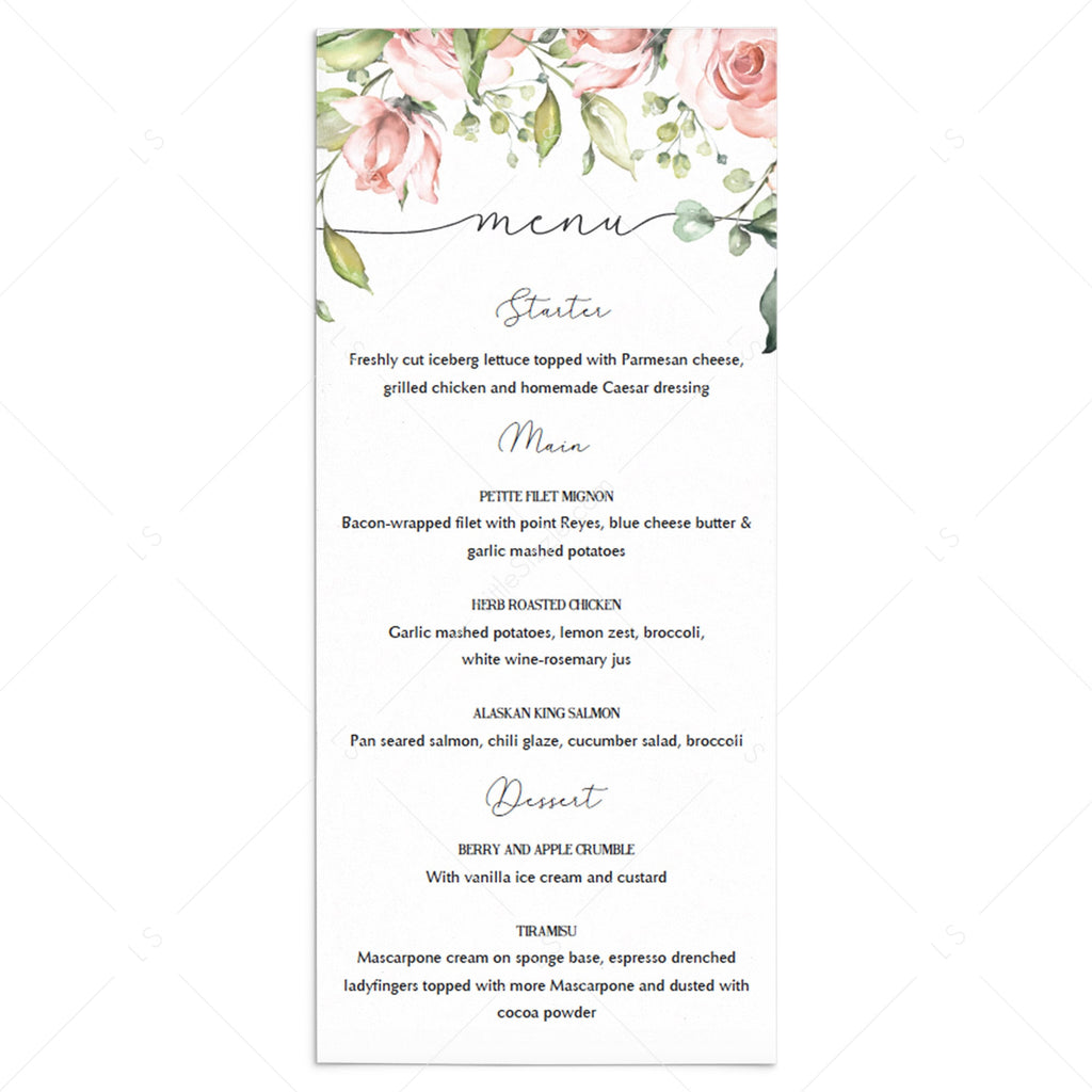 Floral menu card templates by LittleSizzle