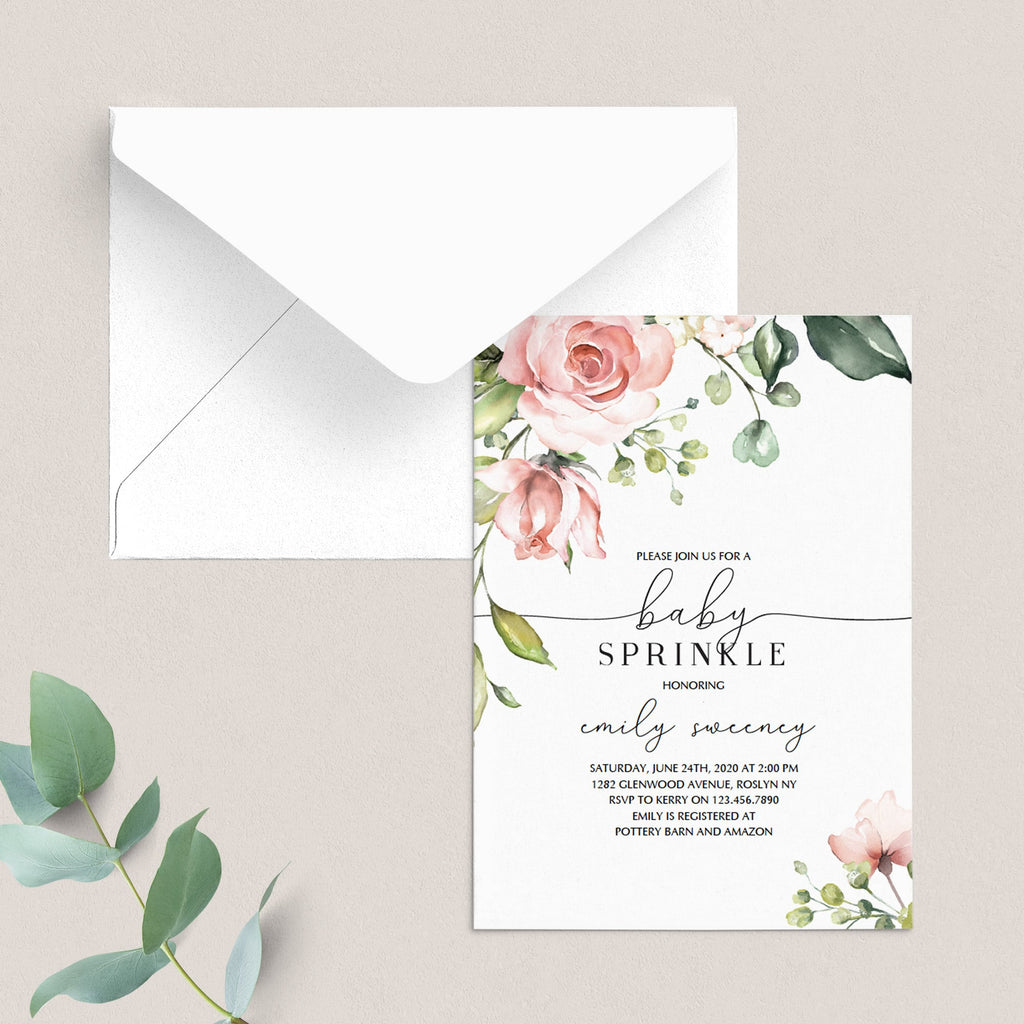 Green and blush floral baby sprinkle invitation template by LittleSizzle