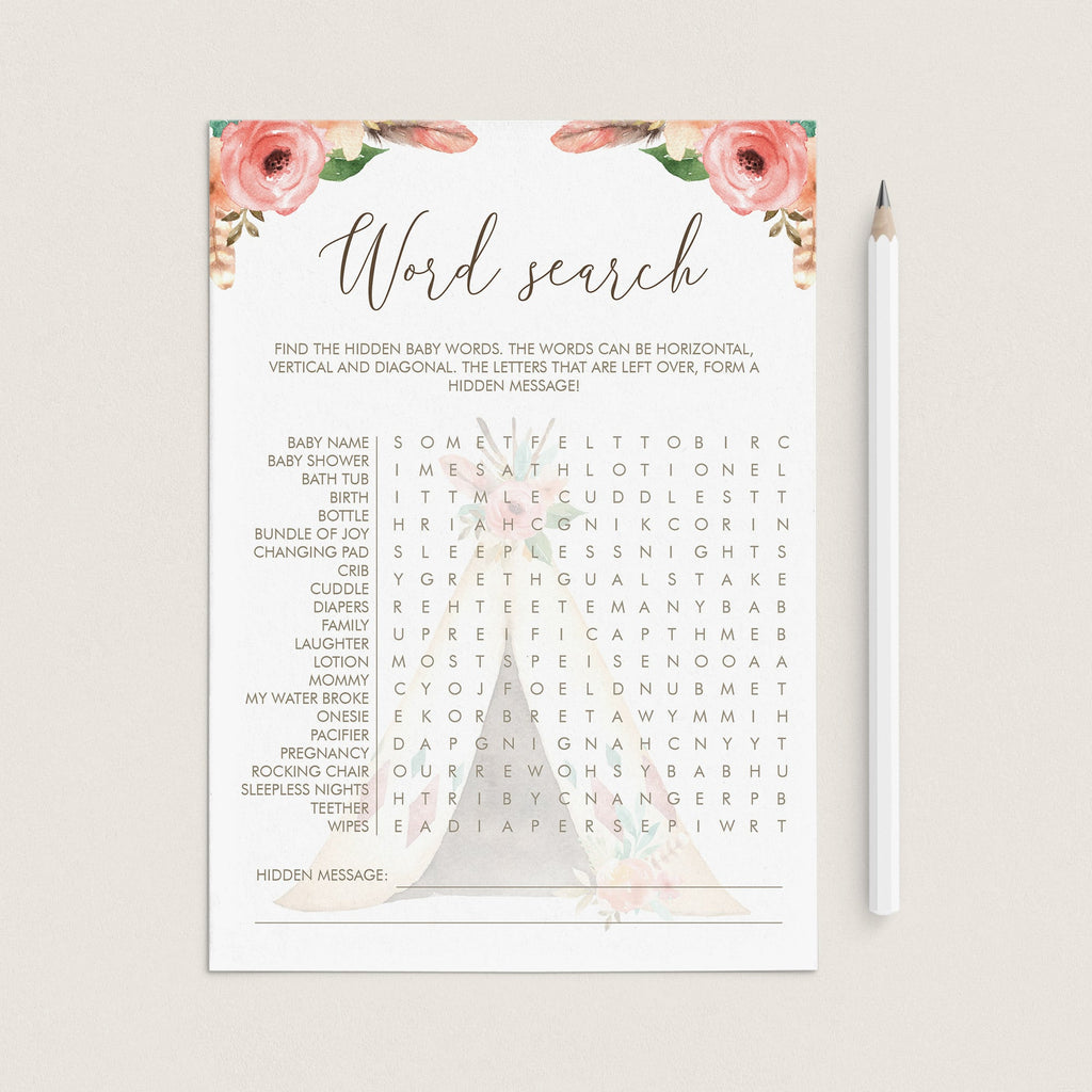 Tribal Baby Shower Games Baby Word Search Printable by LittleSizzle