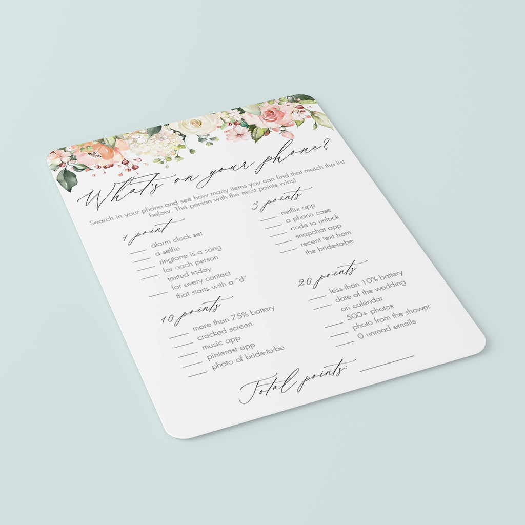 What S On Your Phone Game Printable Elegant Bridal Shower Littlesizzle
