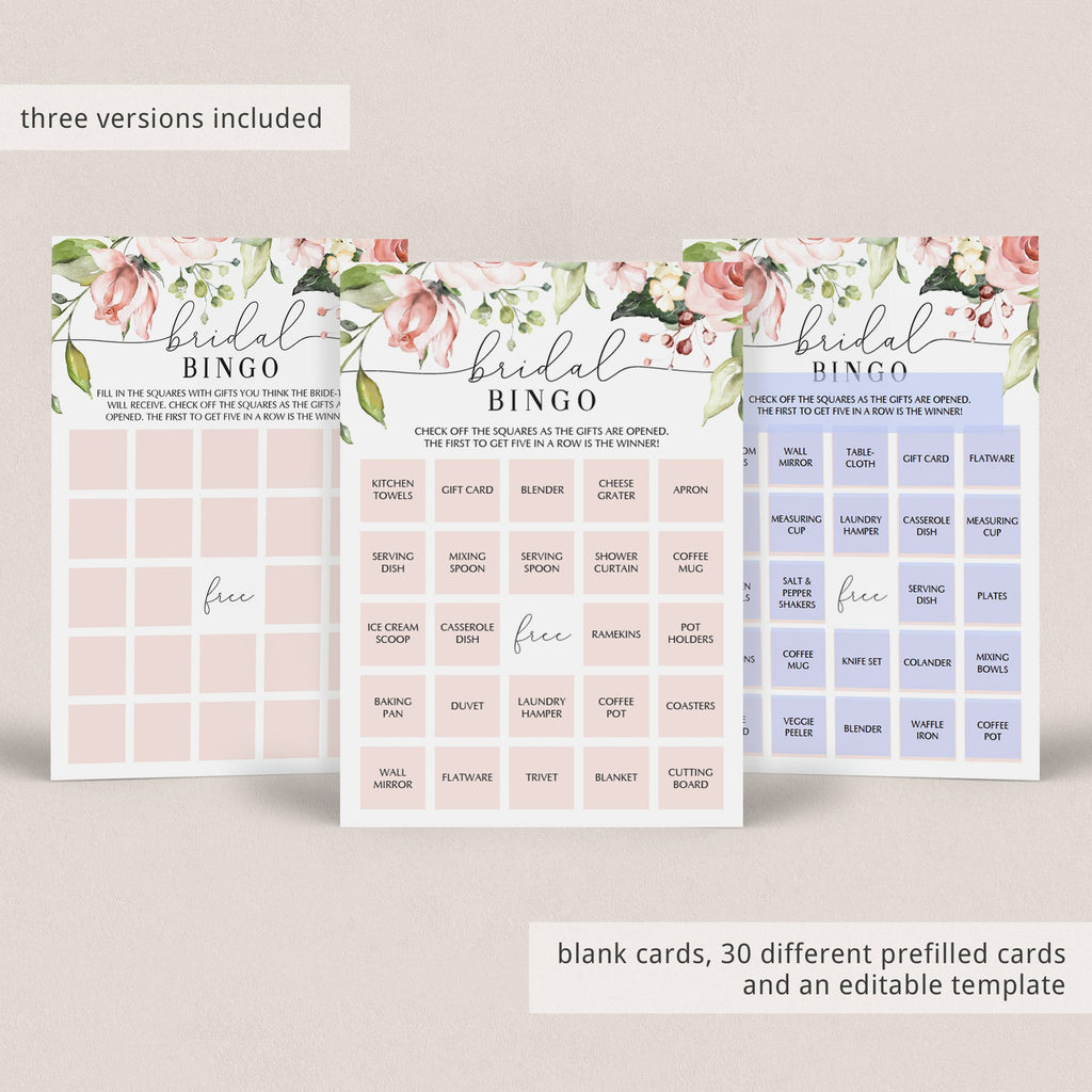floral bridal shower gifts bingo cards prefilled