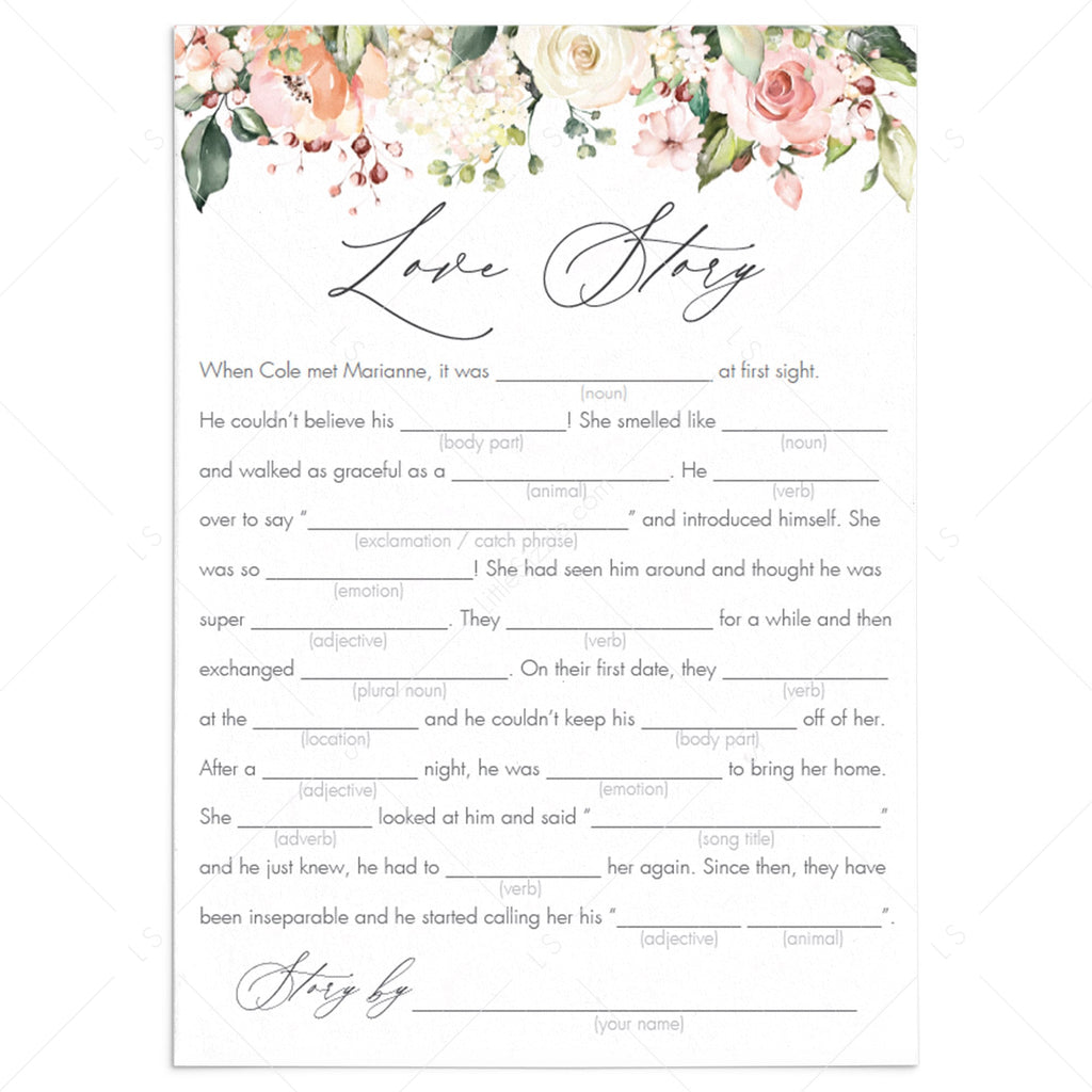 floral love story mad libs bridal shower games