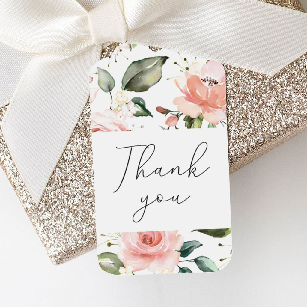 Thank you tags printables with blush flowers by LittleSizzle