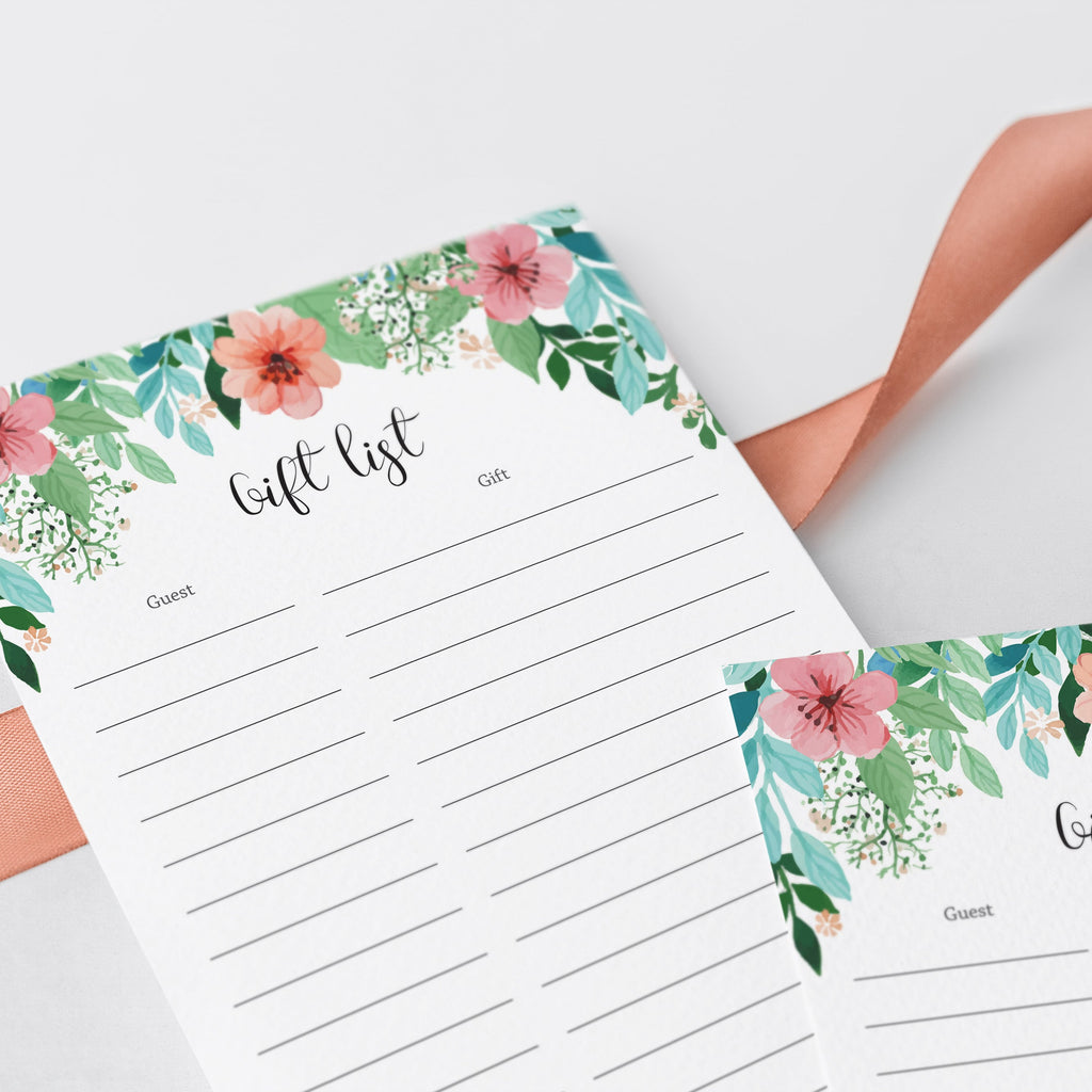 Watercolor gift list for floral themed baby shower by LittleSizzle