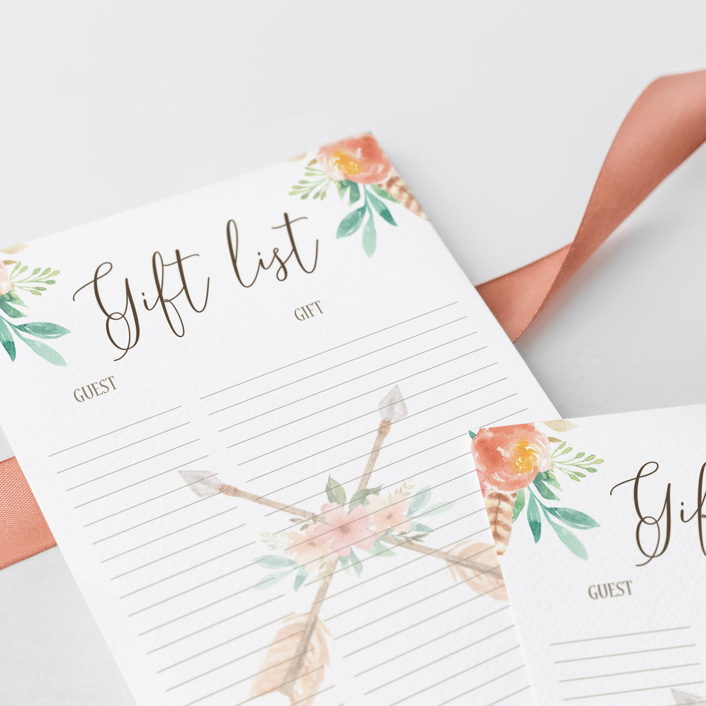 Floral Gift and Guest List Printable File