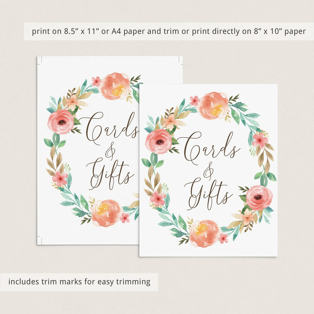 Printable Gift Table Sign with Watercolor Flowers