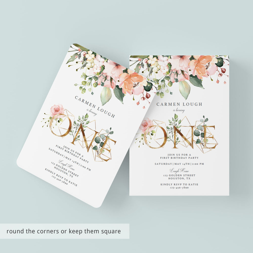 Floral one birthday invitations by LittleSizzle