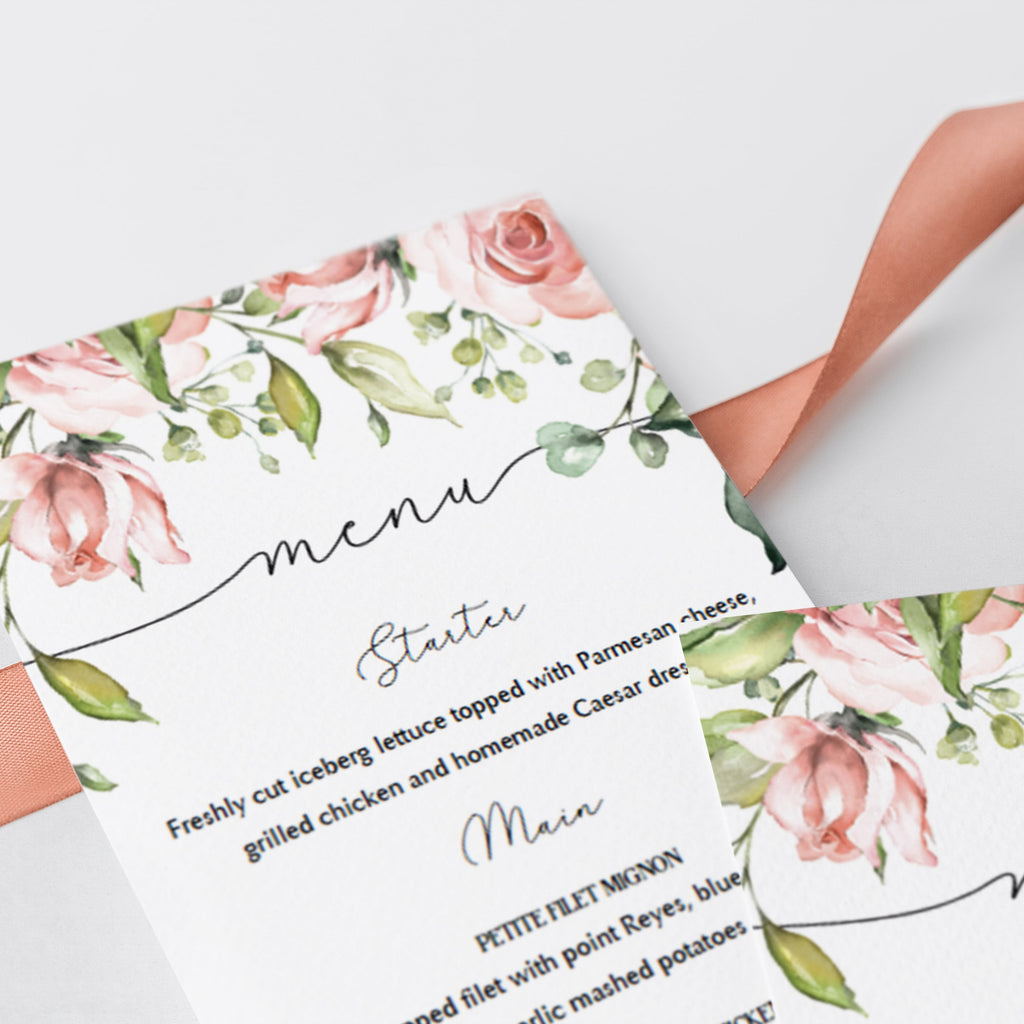 Watercolor flowers baby brunch menu card by LittleSizzle