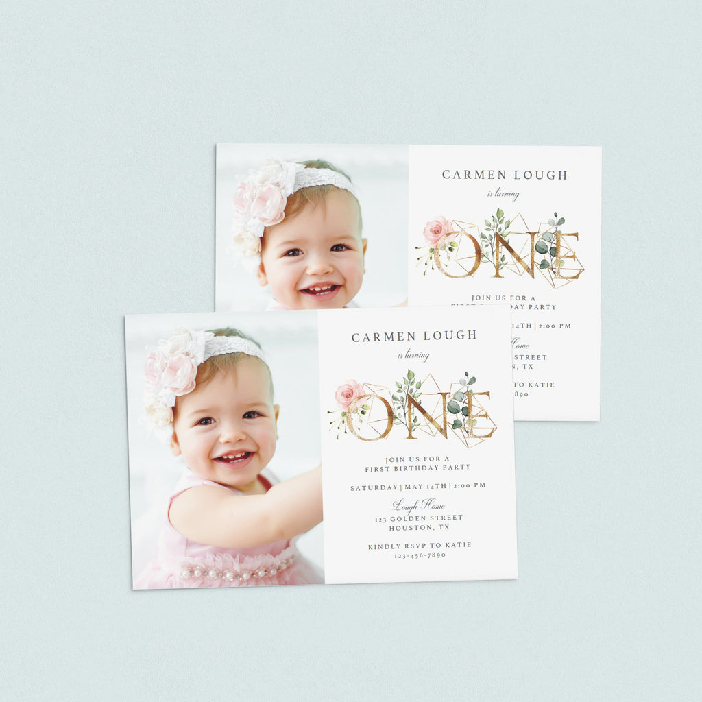 DIY first birthday invitation blush floral by LittleSizzle
