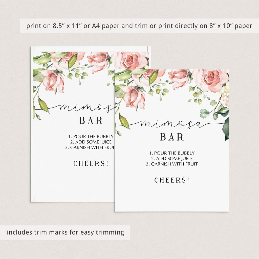 floral mimosa bar sign printable template