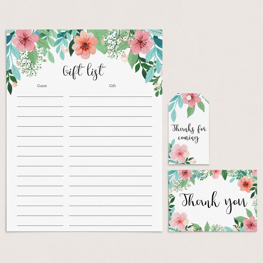 Floral Thank You Cards, Labels and Gift List Printable by LittleSizzle