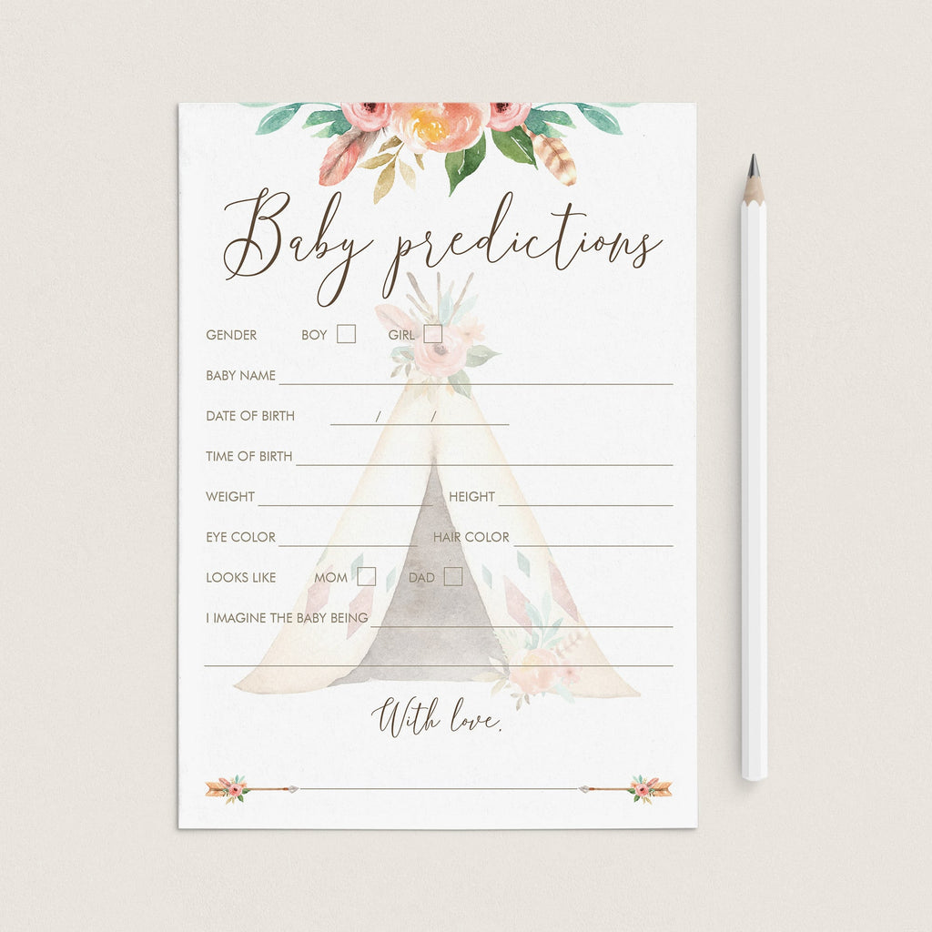 Baby Predictions Game for Tribal Theme Baby Shower by LittleSizzle
