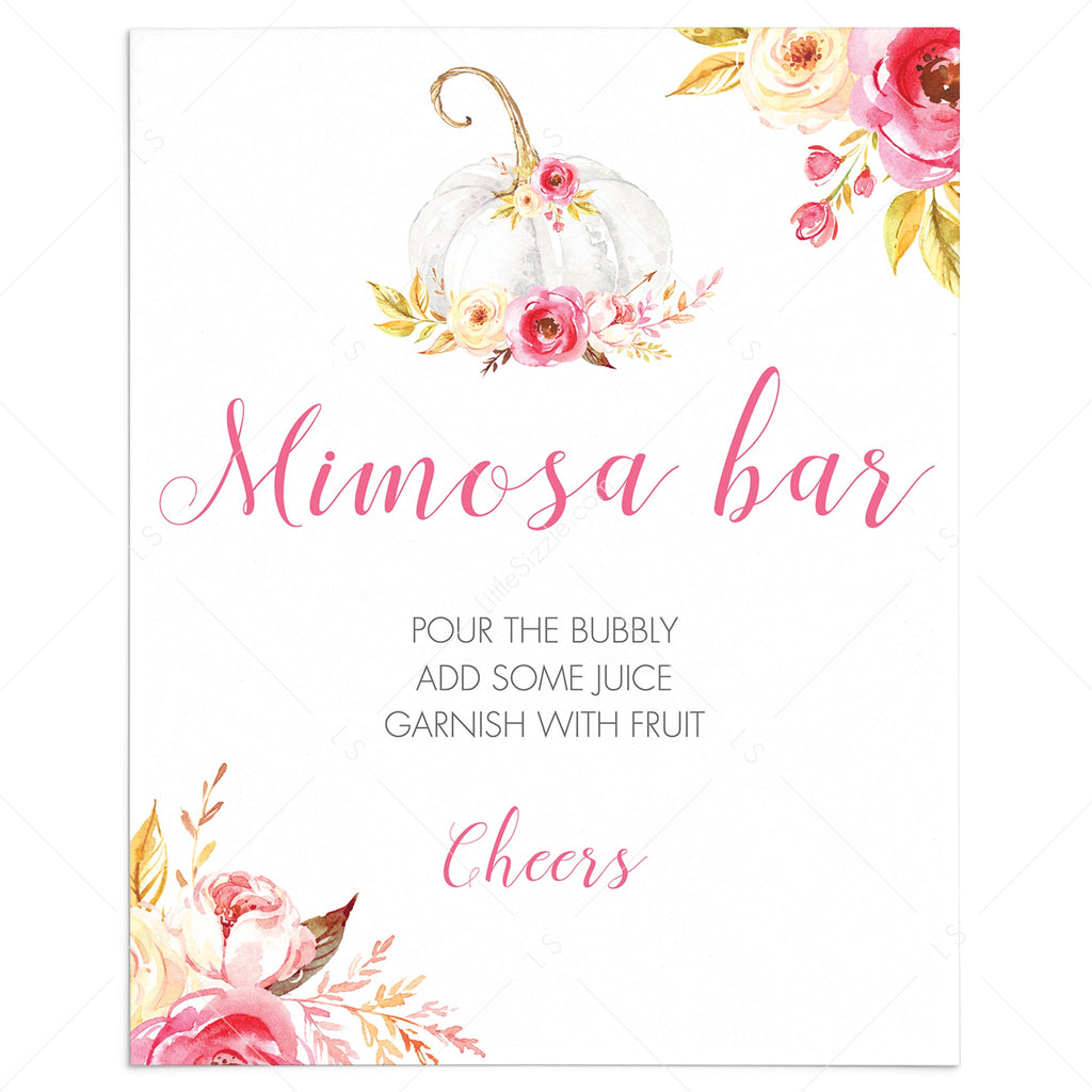 Pumpkin party mimosa bar sign printable by LittleSizzle