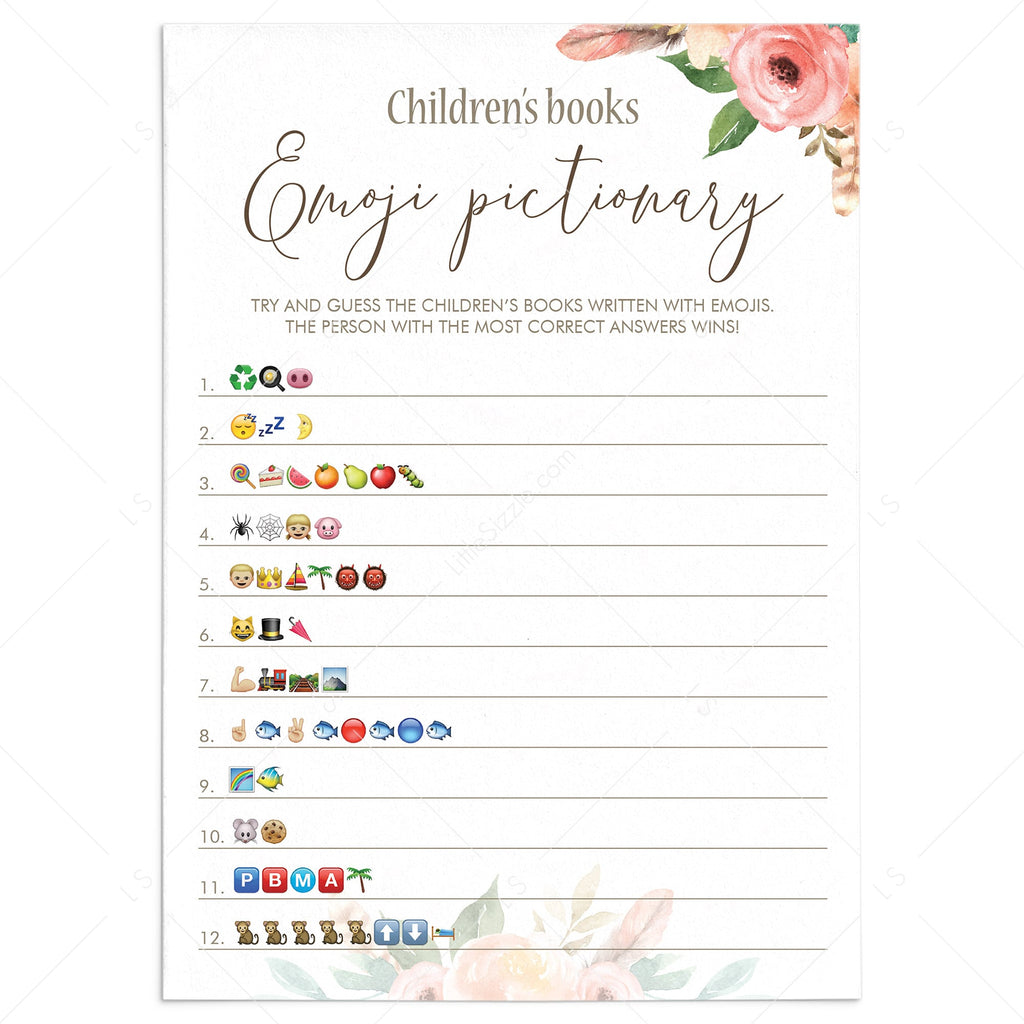 Floral Baby Shower Game Emoji Pictionary Printable by LittleSizzle