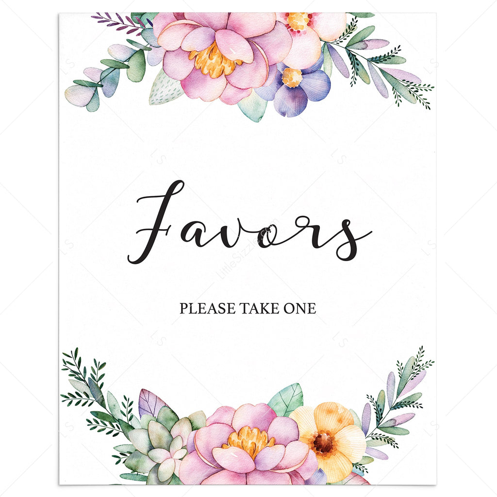 Printable floral shower favors please take one sign by LittleSizzle