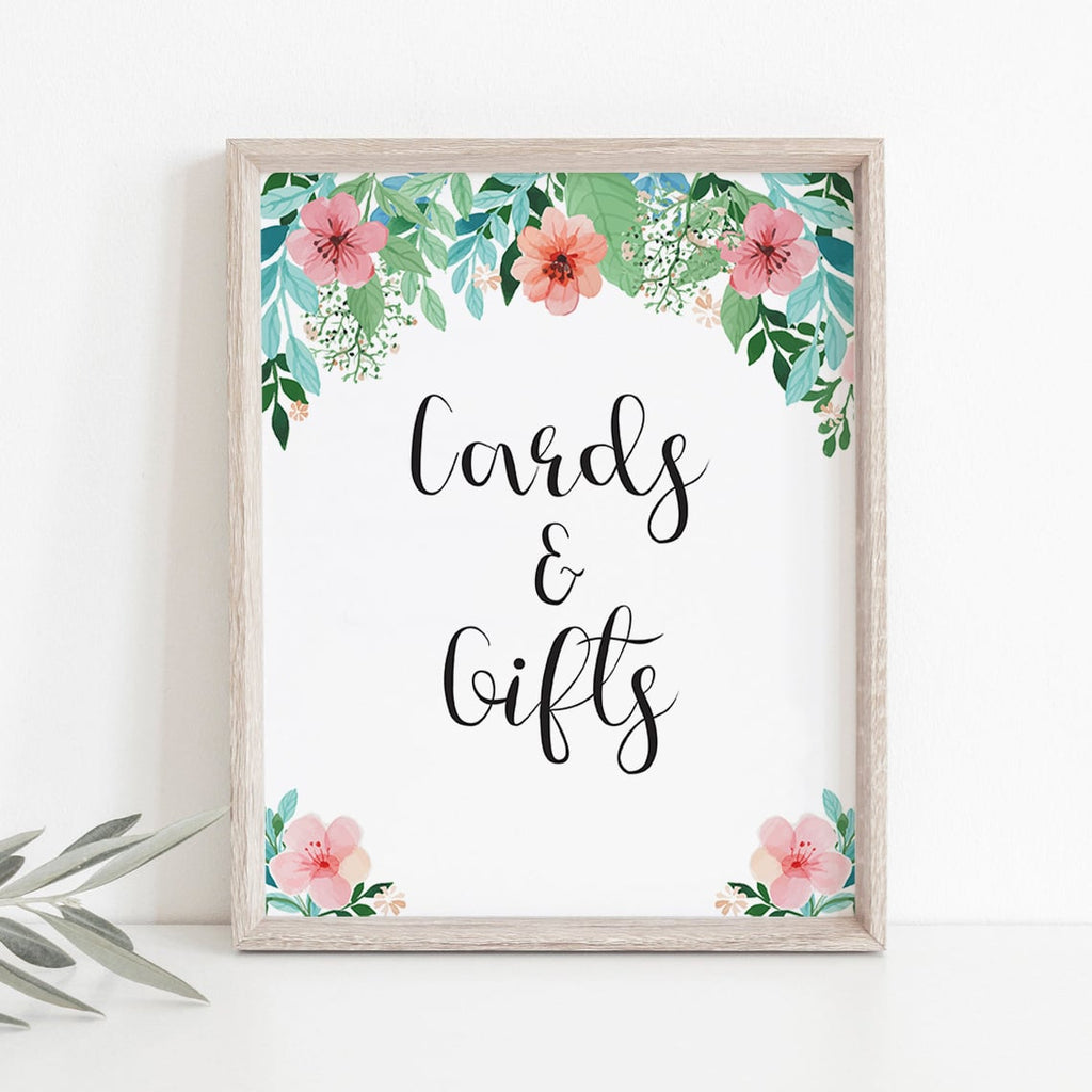 Instant download floral shower cards and gifts sign PDF by LittleSizzle