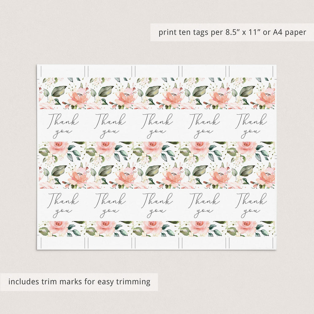 Favor tags for floral themed baby shower instant download by LittleSizzle